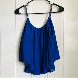 Poetry Tops - Poetry • Blue Flutter Blouse w/ Gold Chain Straps